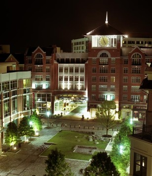 Palladian Apartments exterior at night