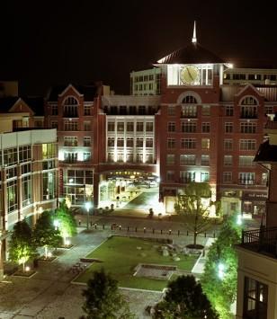 Palladian Apartments exterior at night