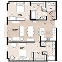 The Cambridge floor plan at Palladian apartments in Rockville MD with two bedrooms and two bathrooms