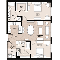 The Charles floor plan at Palladian apartments in Rockville MD with one bedroom and one bathroom