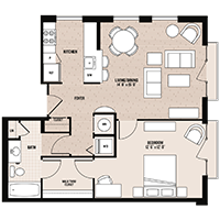 The Chelsea floor plan at Palladian apartments in Rockville MD with one bedroom and one bathroom