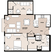 The Farragut floor plan at Palladian apartments in Rockville MD with one bedroom and one bathroom