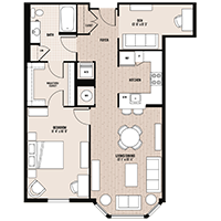 The Franklin floor plan at Palladian apartments in Rockville MD with one bedroom and one bathroom