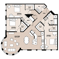The Ghirardelli floor plan at Palladian apartments in Rockville MD with three bedrooms and two bathrooms