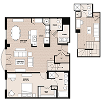 The Herald floor plan at Palladian apartments in Rockville MD with one bedroom, one bathroom and den