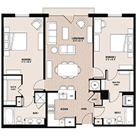 The Kenmore floor plan at Palladian apartments in Rockville MD with two bedrooms and two bathrooms