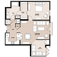 The Lafayette floor plan at Palladian apartments in Rockville MD with one bedroom and one bathroom