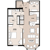 The Lincoln floor plan at Palladian apartments in Rockville MD with one bedroom and one bathroom