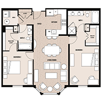 The Lousiburg floor plan at Palladian apartments in Rockville MD with two bedrooms and two bathrooms