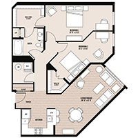 The Madison floor plan at Palladian apartments in Rockville MD with two bedrooms and one bathroom