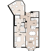 The McPherson floor plan at Palladian apartments in Rockville MD with one bedroom and one bathroom