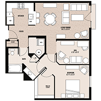 The Mt. Vernon floor plan at Palladian apartments in Rockville MD with one bedroom and one bathroom