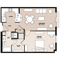 The Navona floor plan at Palladian apartments in Rockville MD with one bedroom and one bathroom
