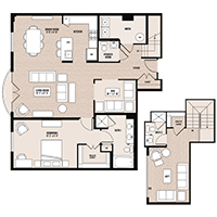 The Times floor plan at Palladian apartments in Rockville MD with one bedroom and one bathroom