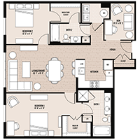 The Union floor plan at Palladian apartments in Rockville MD with two bedrooms and two bathrooms