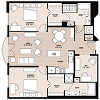 The Washington floor plan at Palladian apartments in Rockville MD with two bedrooms and two bathrooms